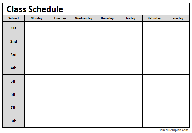 Class Schedule Template Printable For School College