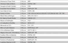 College Football TV Printable Schedule DirecTV Channels