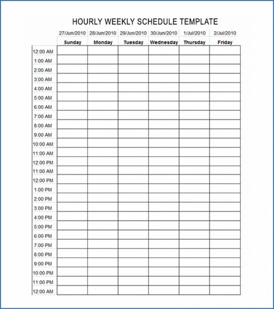 Daily Hourly Schedule Free Free Calendar Template
