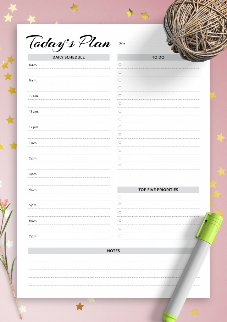 Daily Hourly Schedule Print Out Free Calendar Template