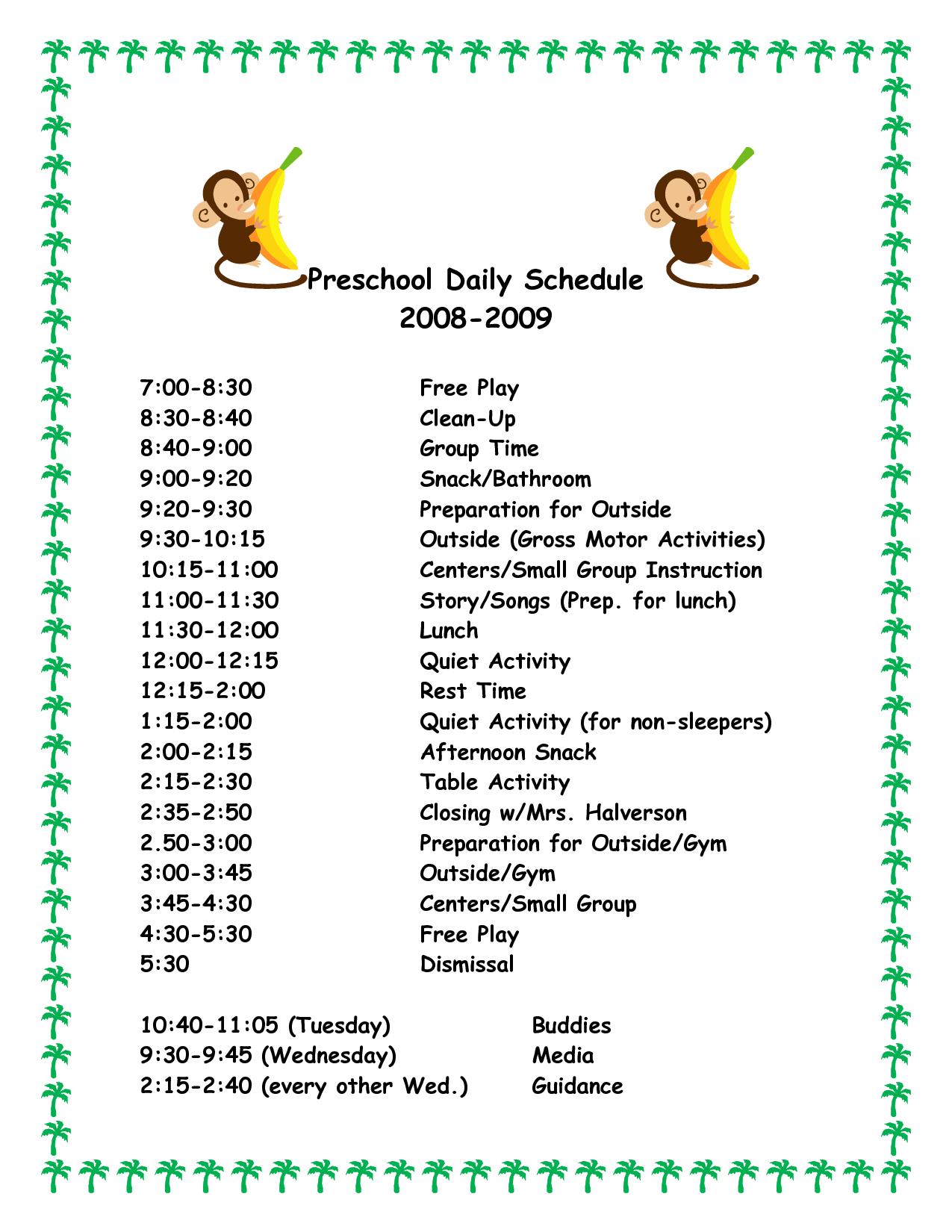Daily Schedule Template For Preschool Printable Schedule