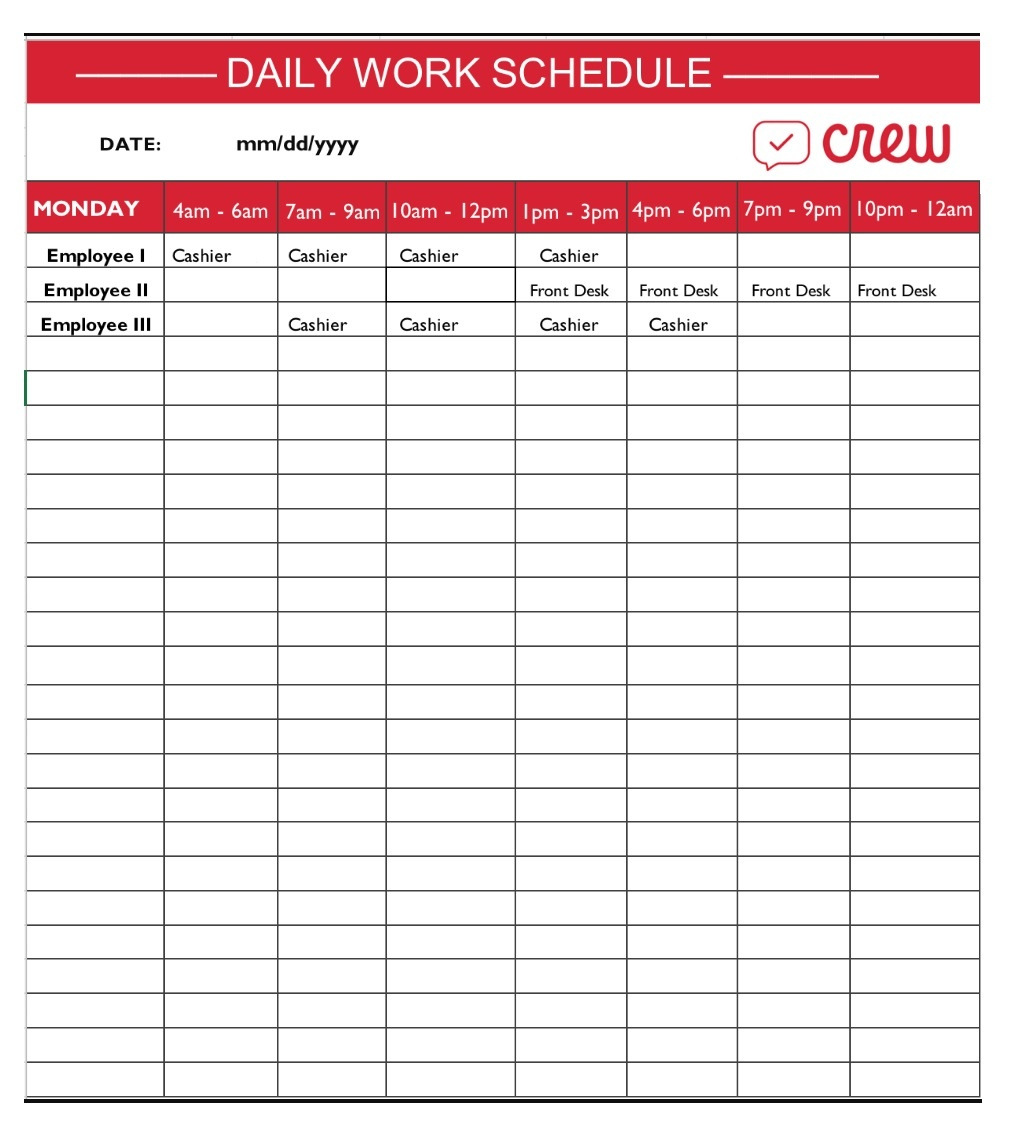Daily Schedule Template Free Word Templates