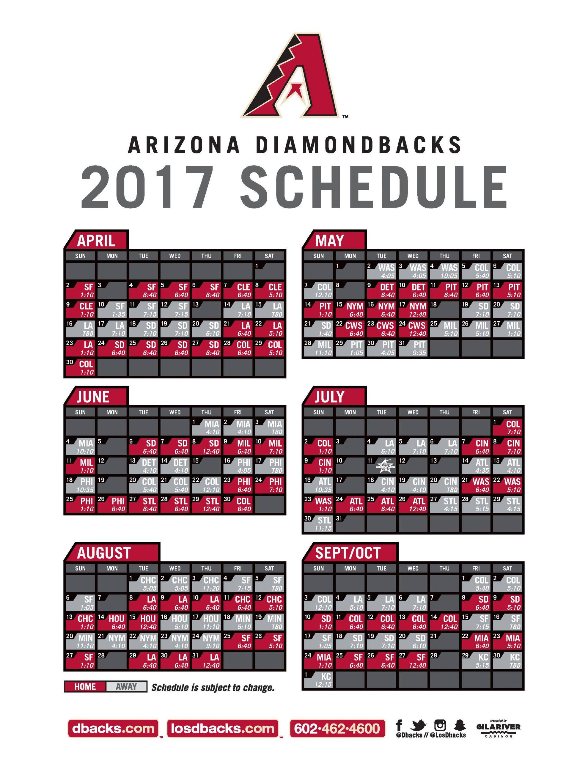 Diamondbacks Schedule Printable That Are Luscious Joann