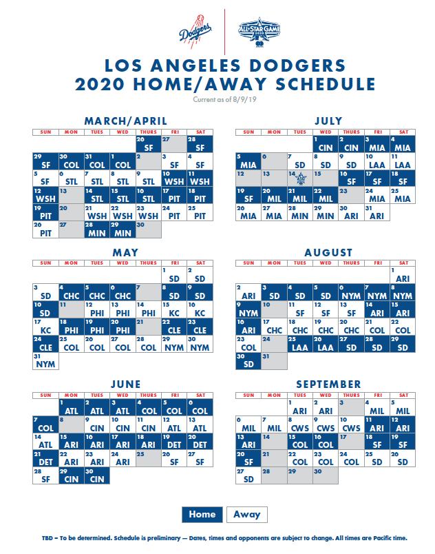 Dodgers 2020 Schedule Announced Dodger Insider