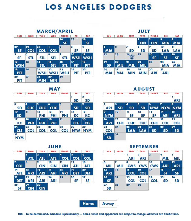 Dodgers 2021 Printable Schedule PrintableSchedule