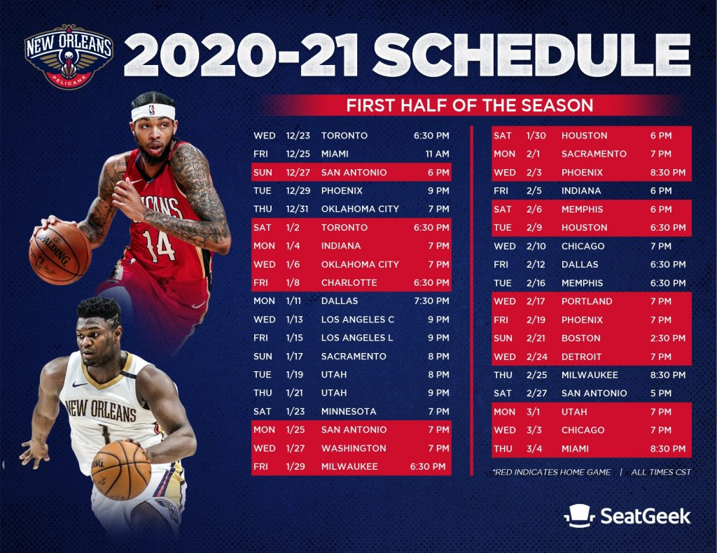 Download A Printable Pelicans 2020 21 Schedule New