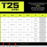 Focus T25 Calendar Workout Schedule Results Tracking