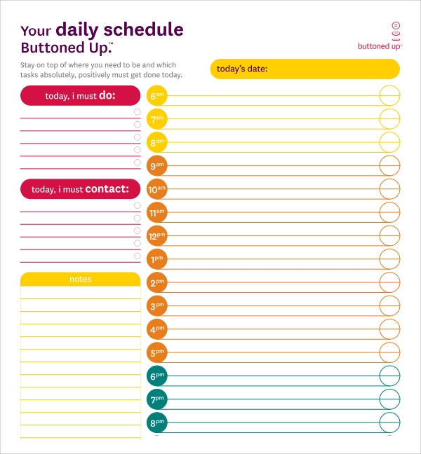 FREE 24 Printable Daily Schedule Templates In PDF