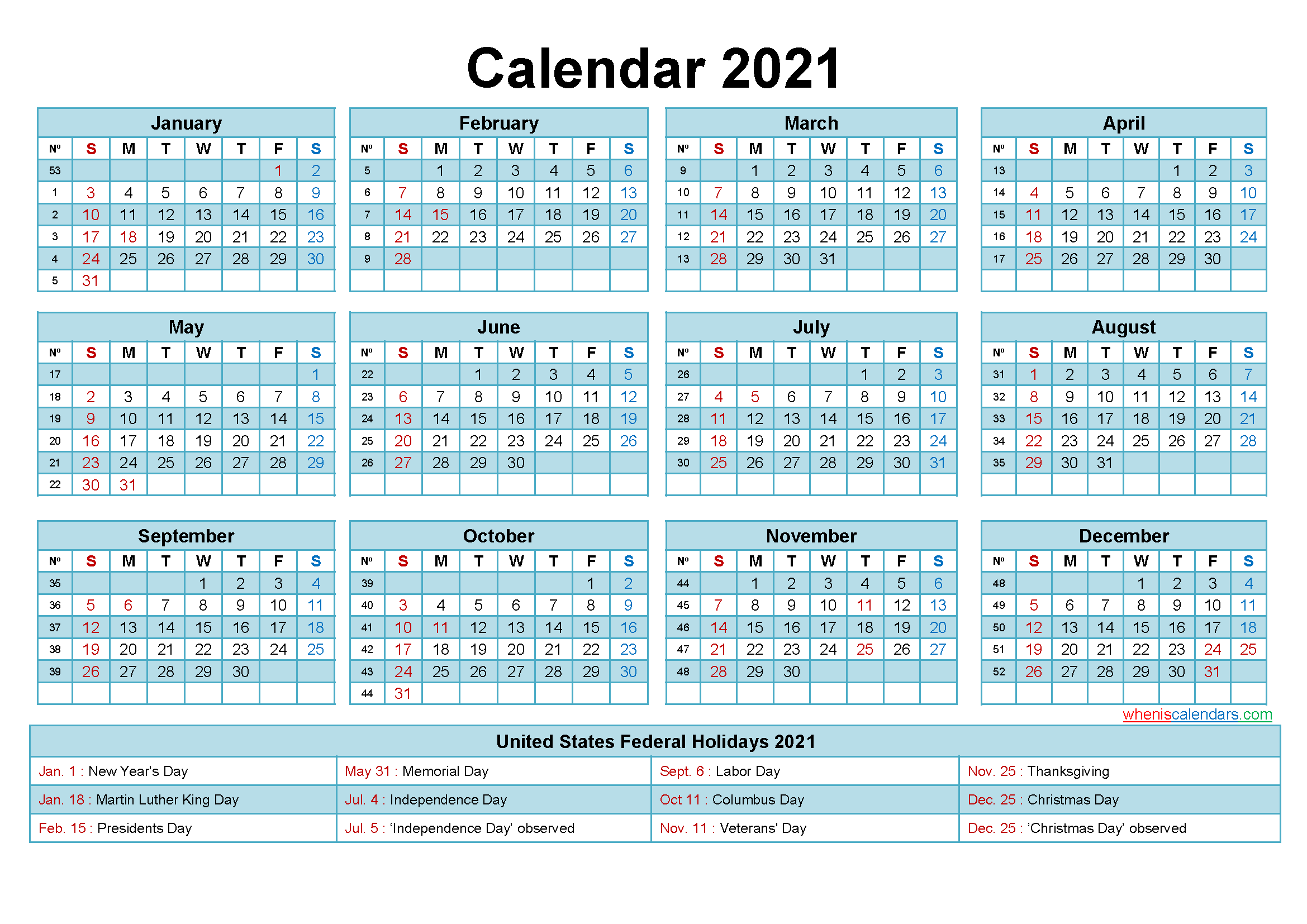 Free Printable 2021 Calendar With Holidays In Word