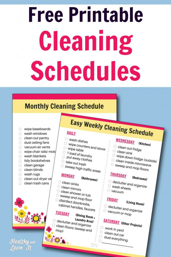 Free Printable Cleaning Schedule Daily Weekly And