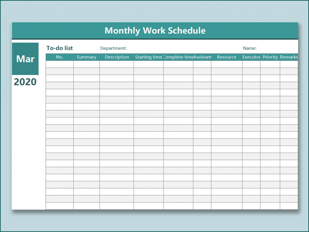 Free Printable Monthly Work Schedule Template Excel Bogiolo