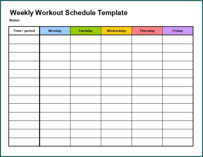Free Printable Weekly Workout Schedule Template Bogiolo