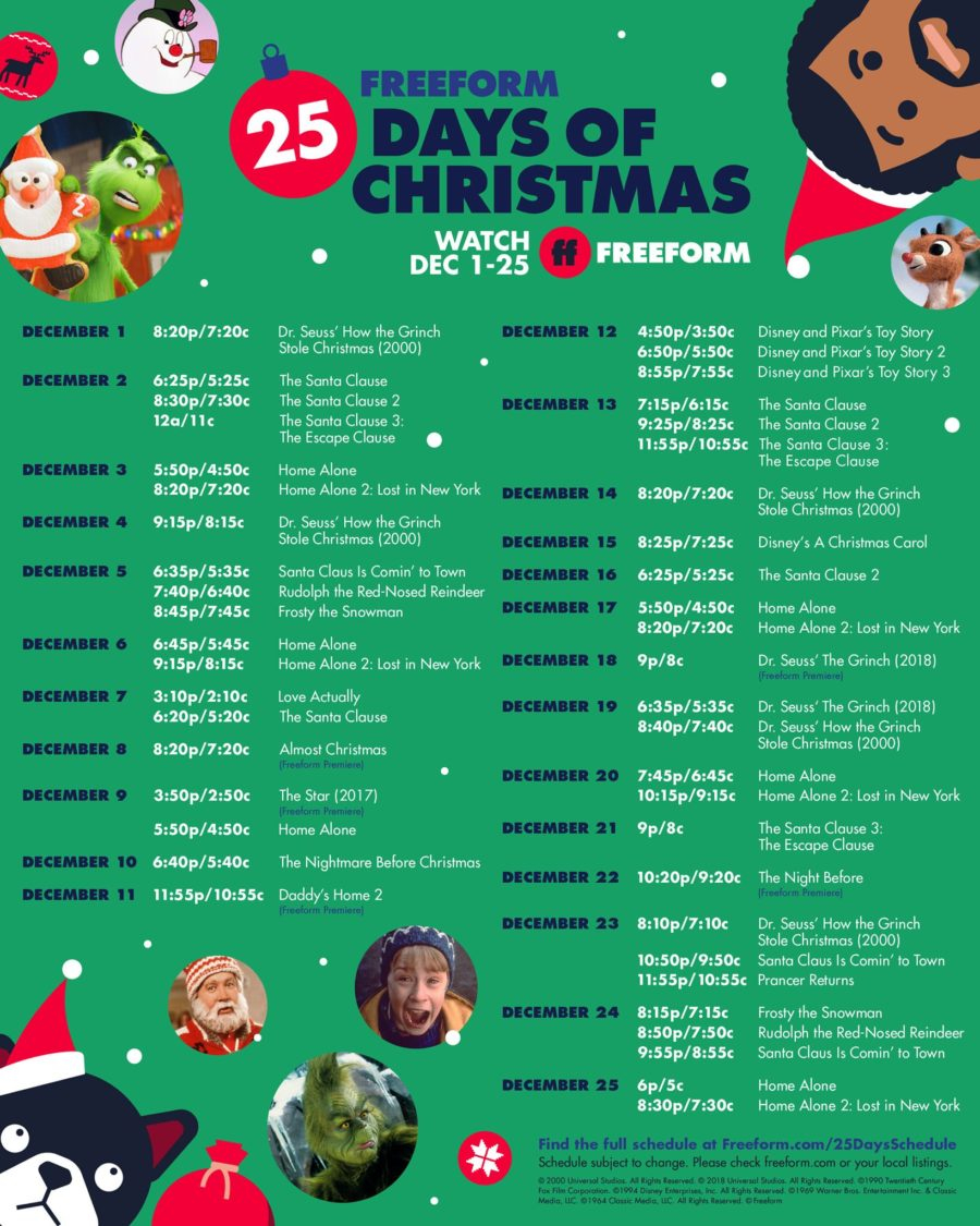 Freeform 25 Days Of Christmas Schedule Is Here