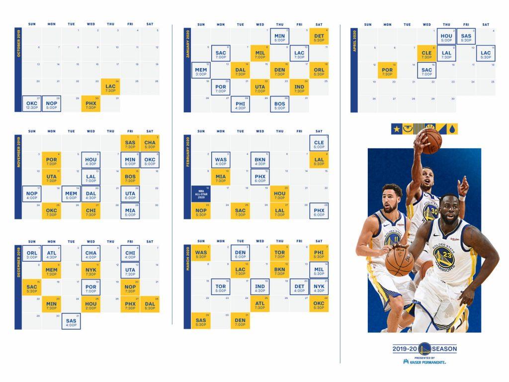 Golden State Warriors Announce 2019 20 Season Schedule
