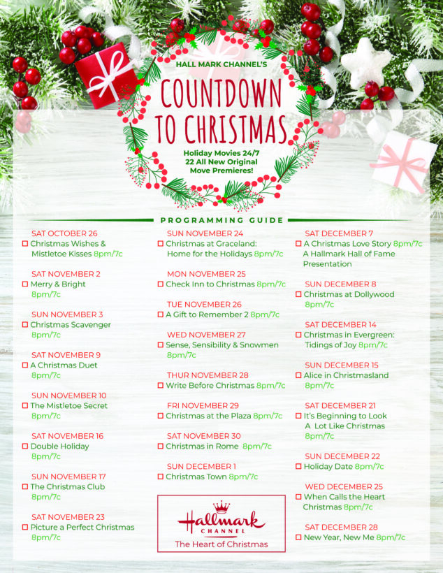 Hallmark Christmas Movies 2019 Checklist Full List And