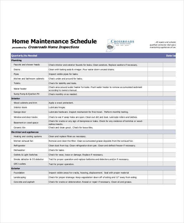 Home Maintenance Schedule Template 7 Free PDF Word