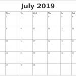 July 2019 Blank Schedule Template