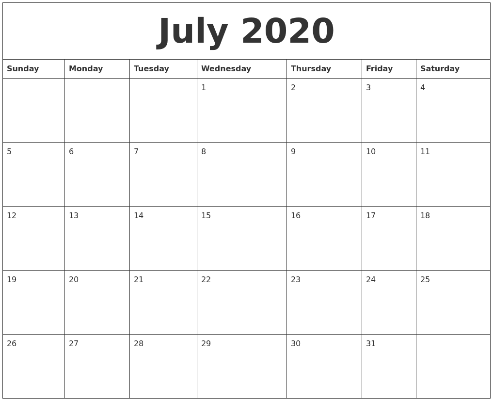 July 2020 Blank Schedule Template