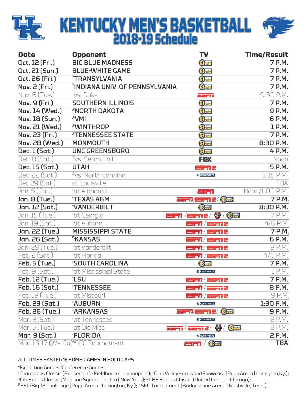 Kentucky Wildcats Basketball Announces Game Times And TV