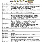 Kindergarten Celebration Daily Schedule