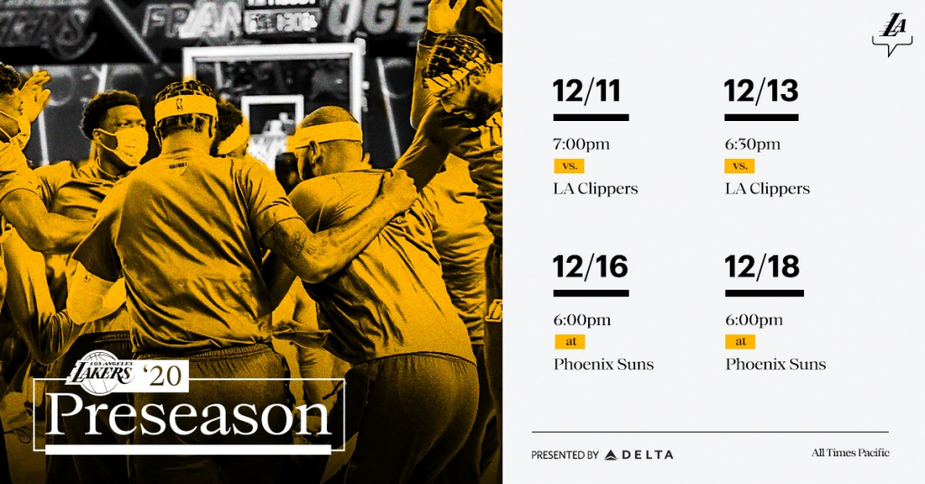 Lakers Announce 2020 Preseason Schedule Presented By Delta