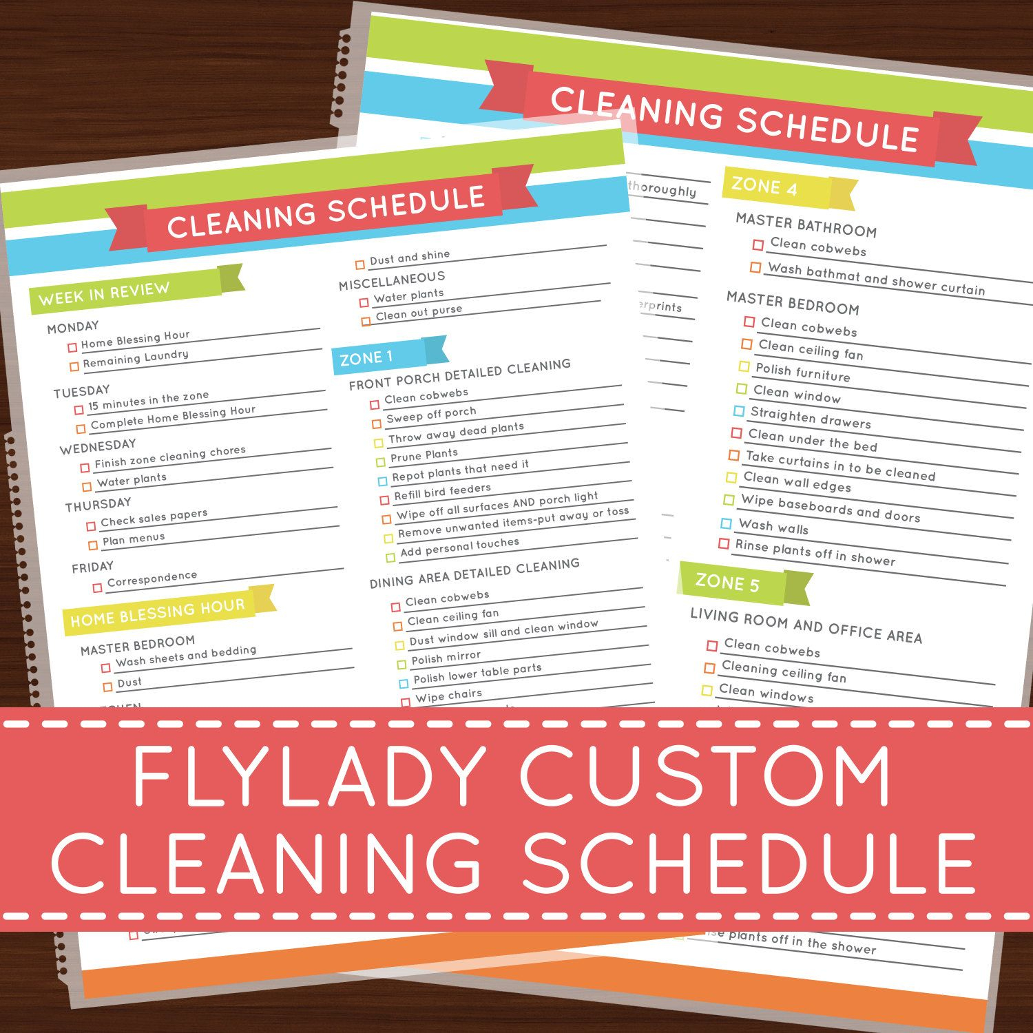 Laminated Flylady Custom Cleaning Schedule By
