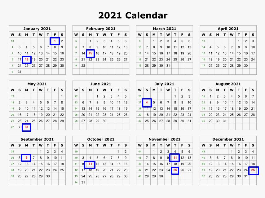 List Of 2021 Federal Holidays United States Calendar