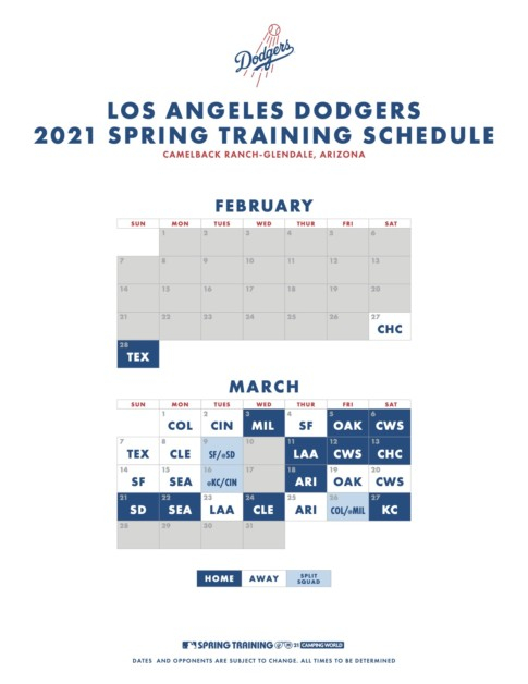 Los Angeles Dodgers 2021 Spring Training Schedule Dodger