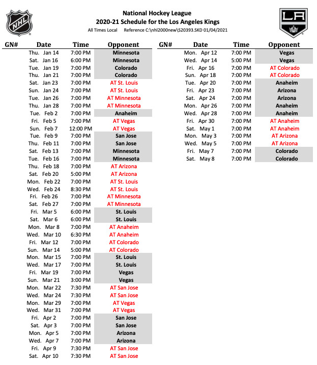 Los Angeles Kings Release Full 2021 Schedule And Game