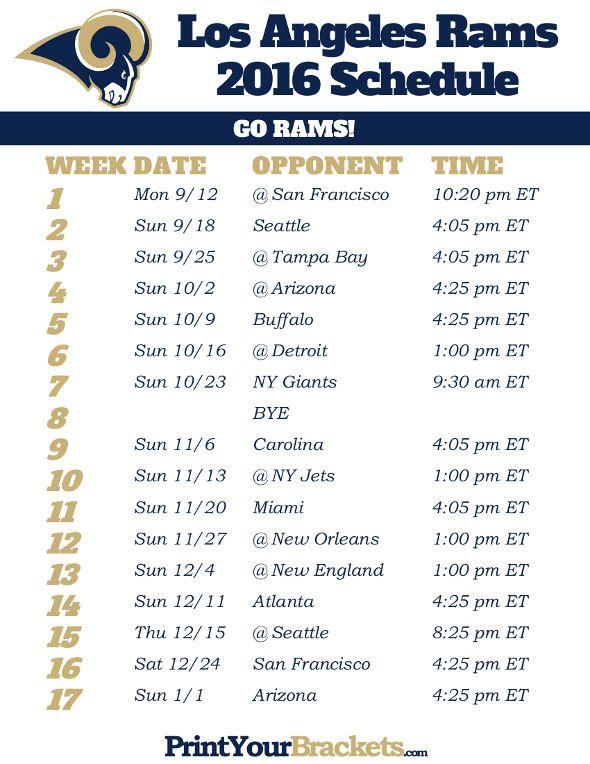 Los Angeles Rams Schedule 2016 Carolina Panthers