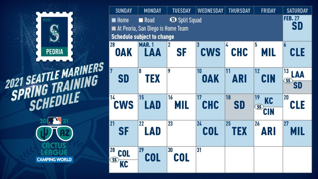 Mariners Announce 2021 Spring Training Schedule By