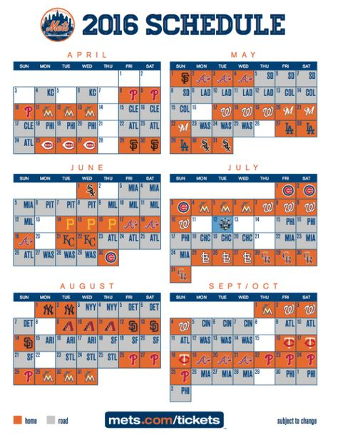 Mets Announce 2016 Regular Season Schedule New York Mets