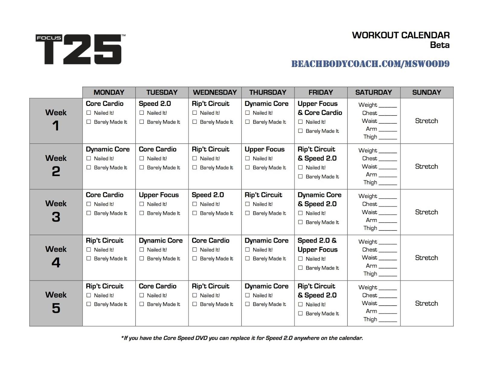 Michelle Is Living Well Focus T25 Workout Calendar