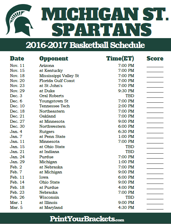 Michigan State Spartans 2016 2017 College Basketball