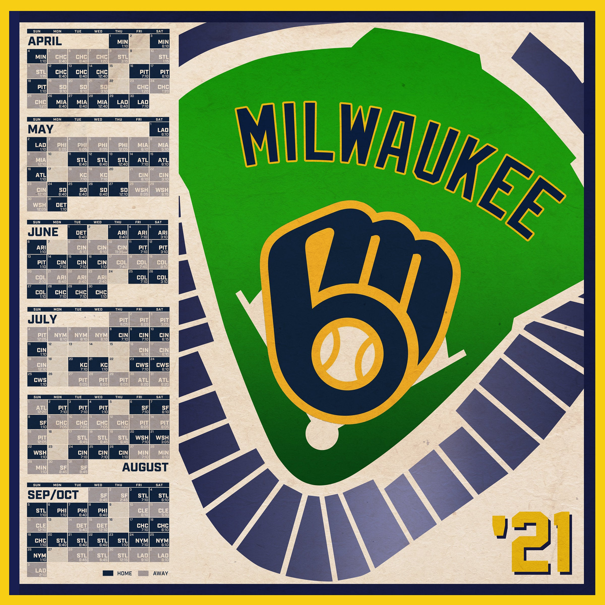 Milwaukee Brewers 2021 Schedule Digital Etsy