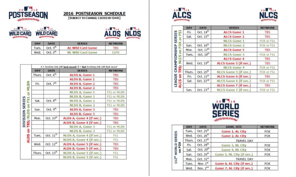 MLB 2016 Postseason Schedule Announced BaseballAmerica
