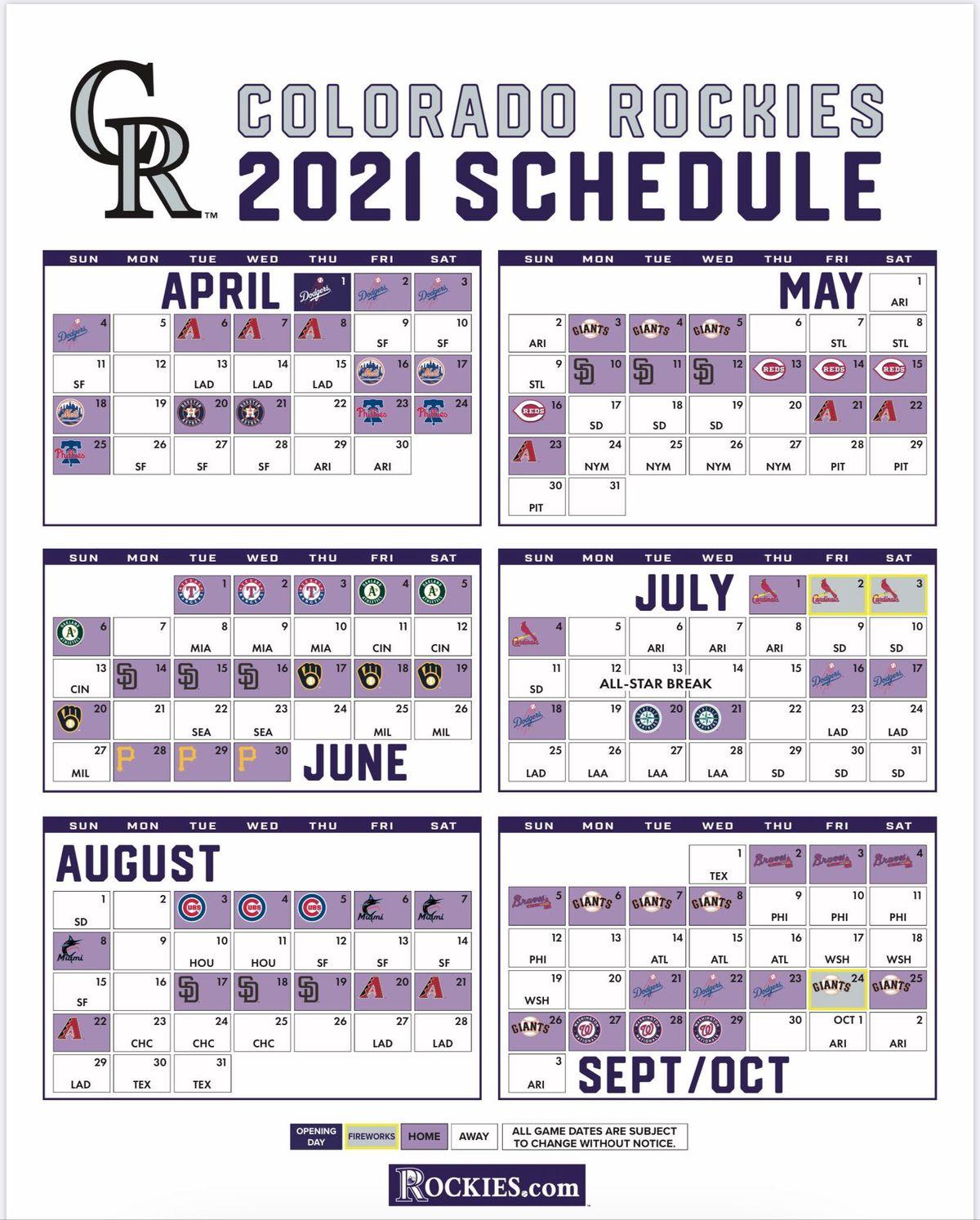MLB Releases 2021 Schedule Purple Row