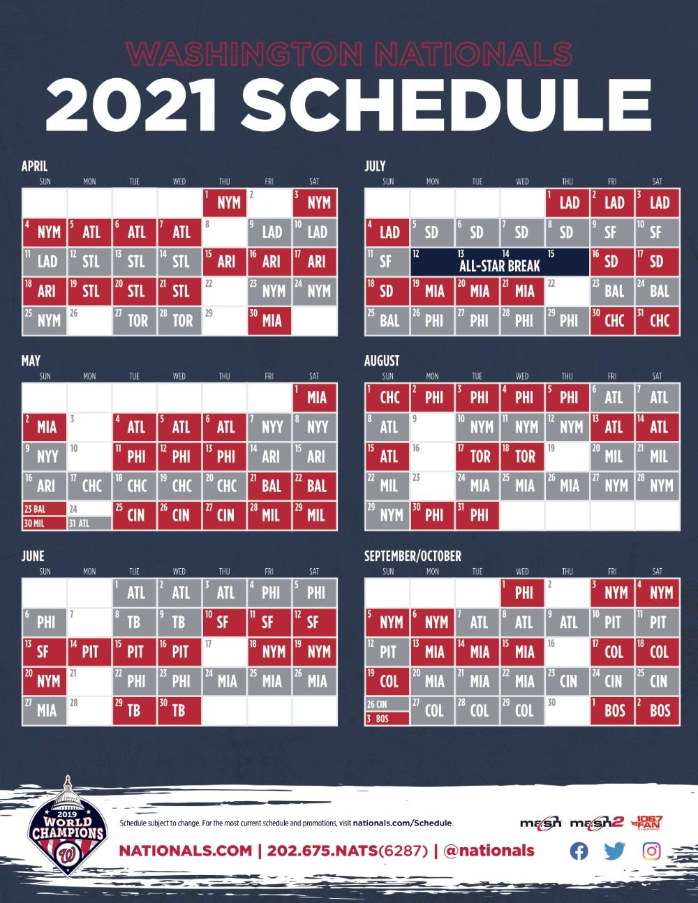 Nationals Announce 2021 Schedule MASN News Information