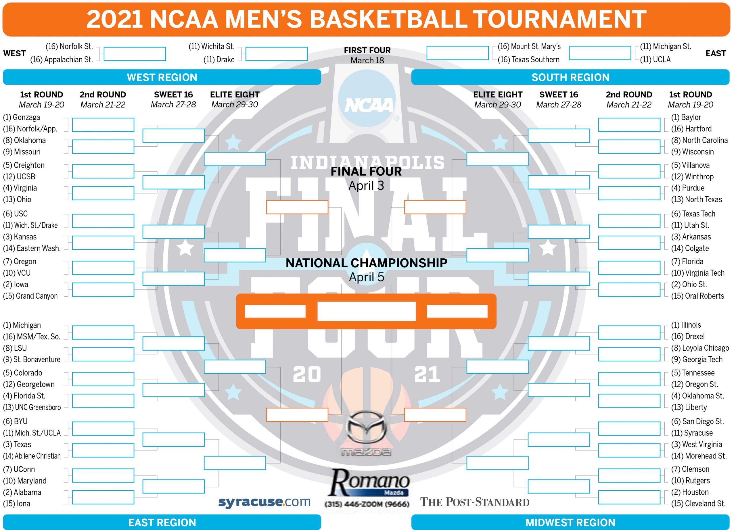 NCAA Bracket 2021 Tournament Teams Set Print Your Men s