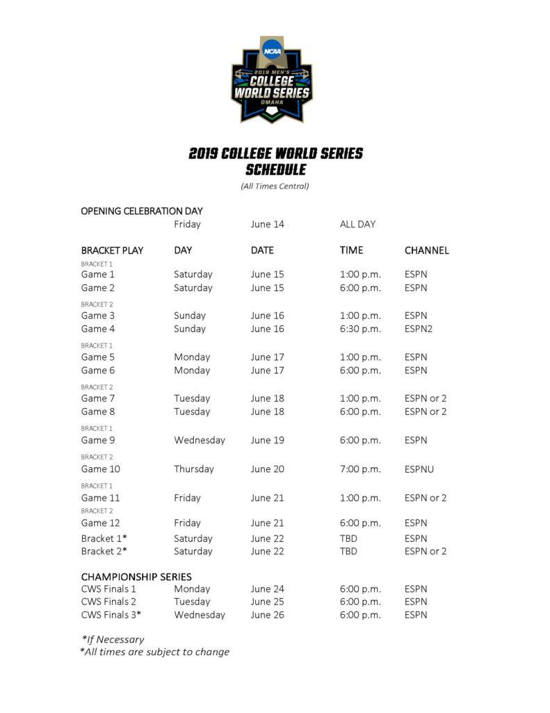 Ncaa College World Series Schedule NISHIOHMIYA GOLF COM
