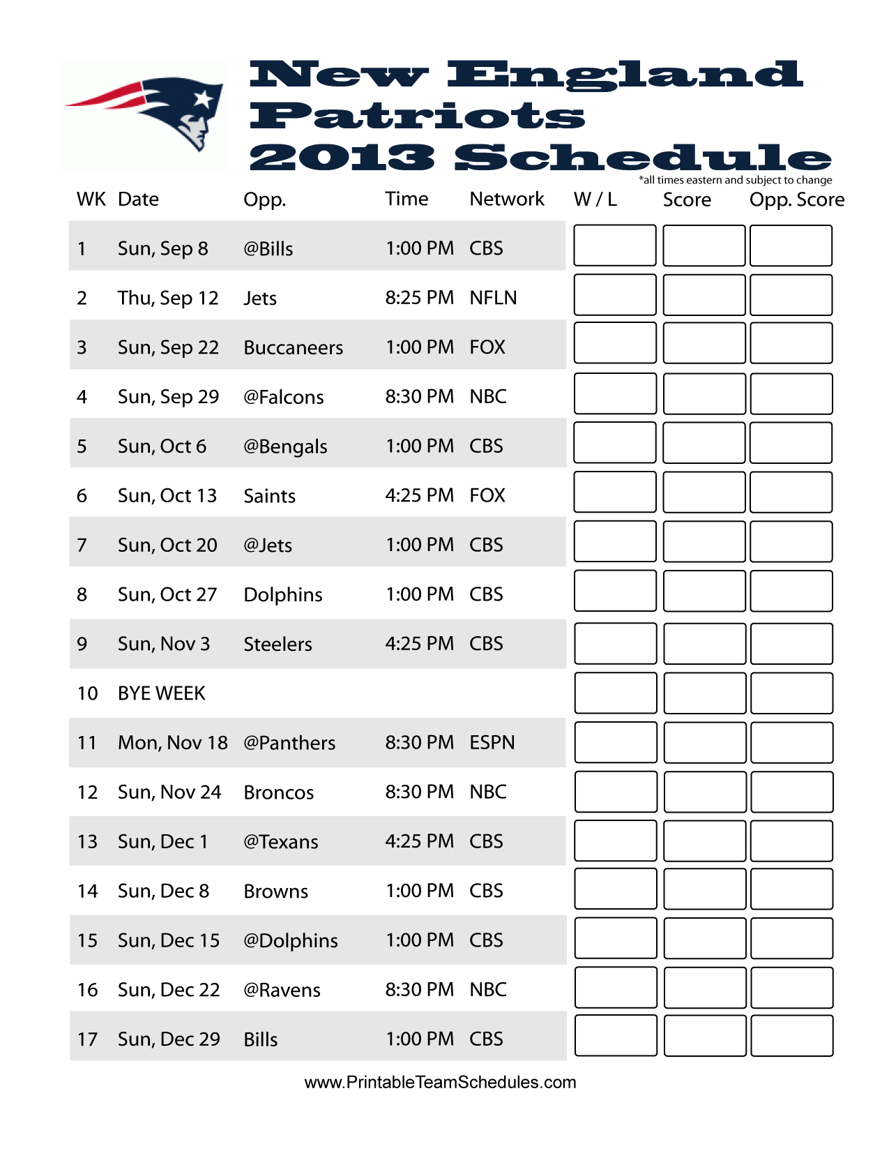 New England Patriots 2013 Schedule Game Day