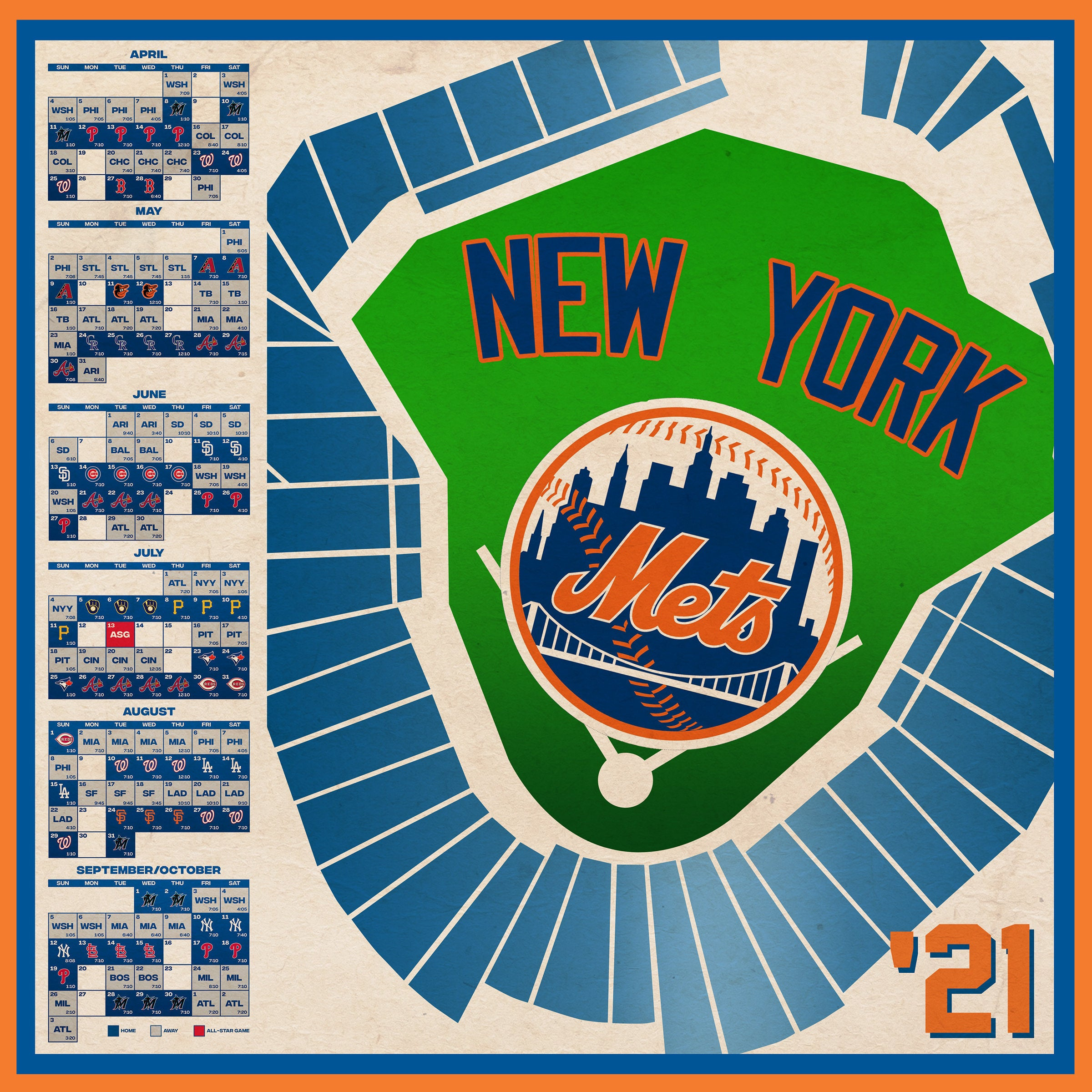 New York Mets 2021 Schedule Print Etsy