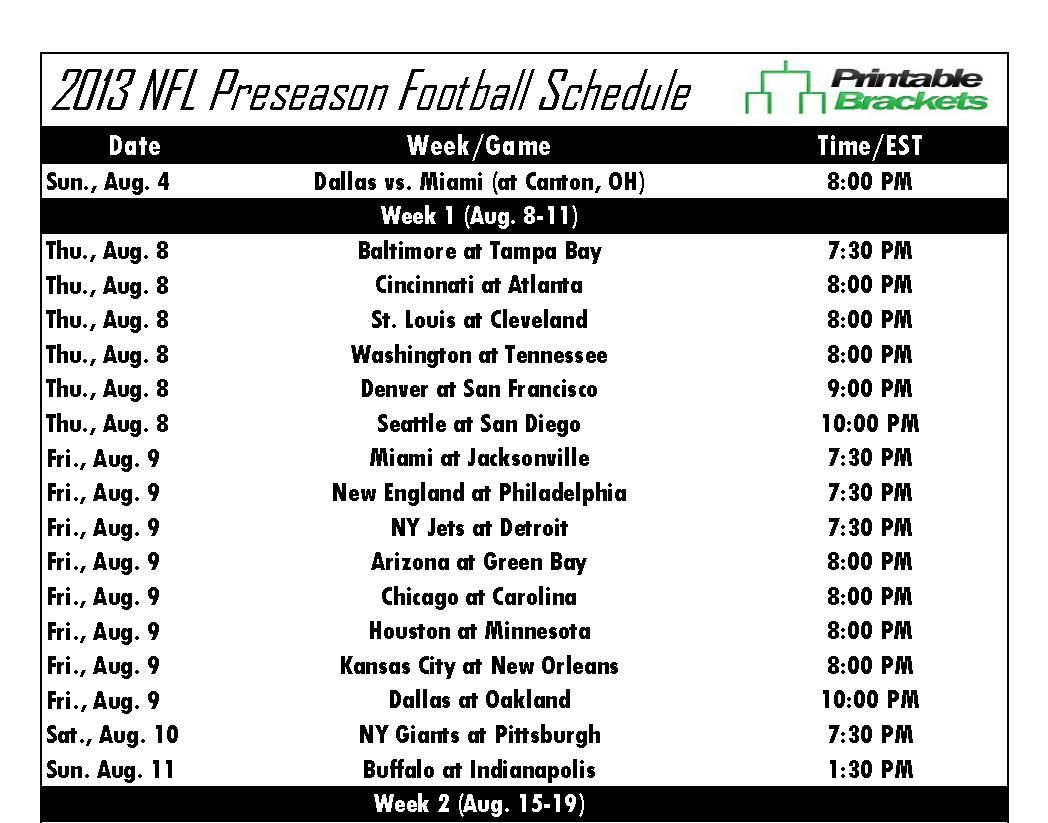 NFL Preseason Schedule 2013 NFL Preseason Schedule