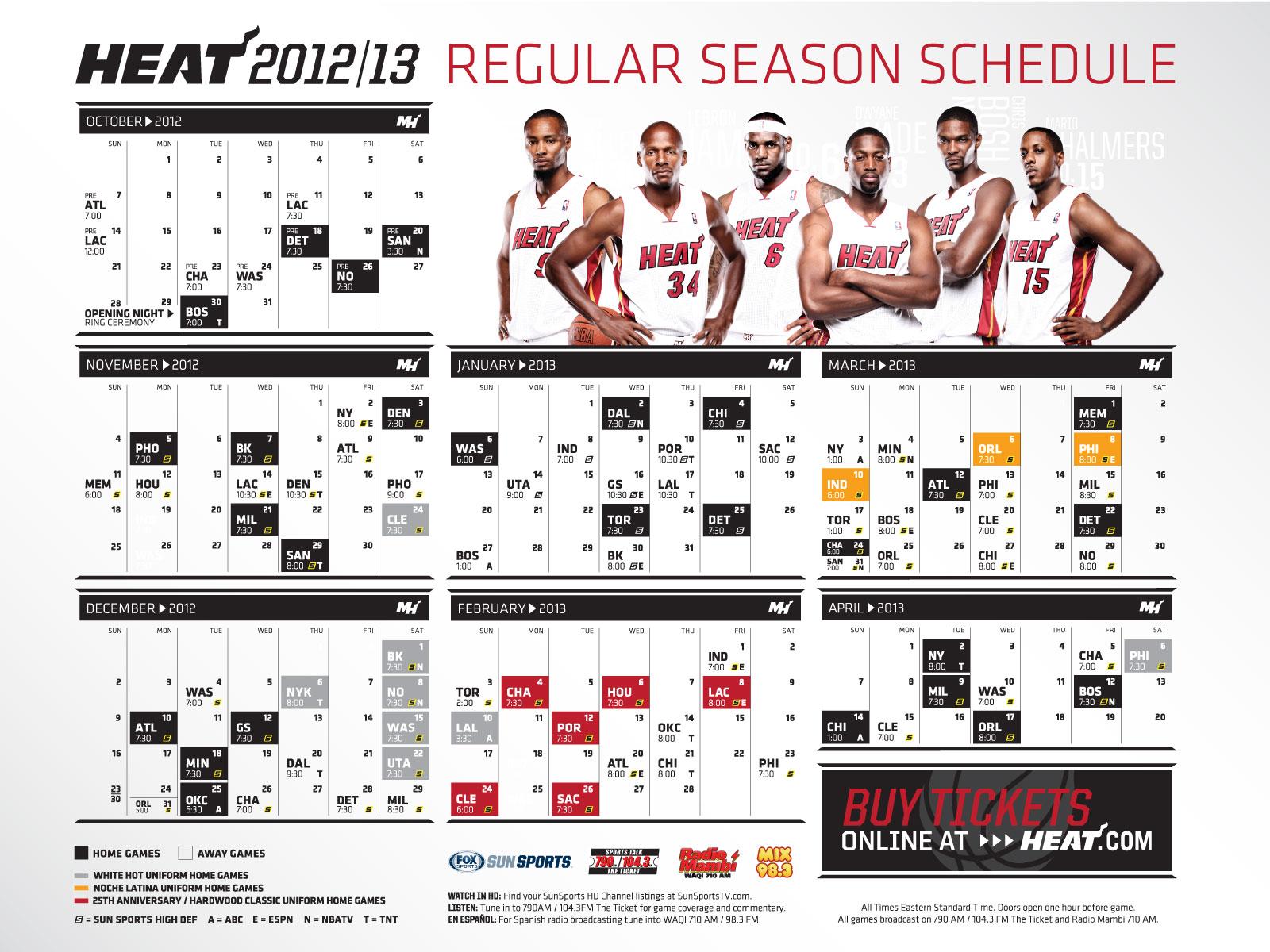 NWK To MIA MIAMI HEAT 2012 13 Season Schedule Wallpaper
