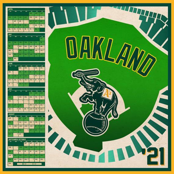 Oakland Athletics 2021 Schedule Print Etsy