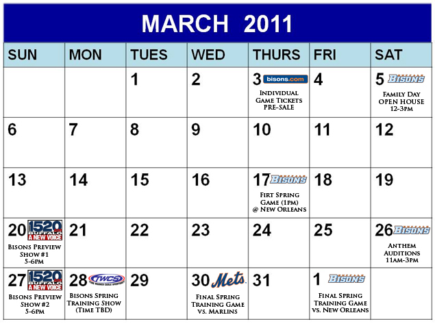Off Season Events Calendar Buffalo Bisons Schedule