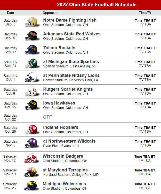 Ohio State Buckeyes Football Future Schedules