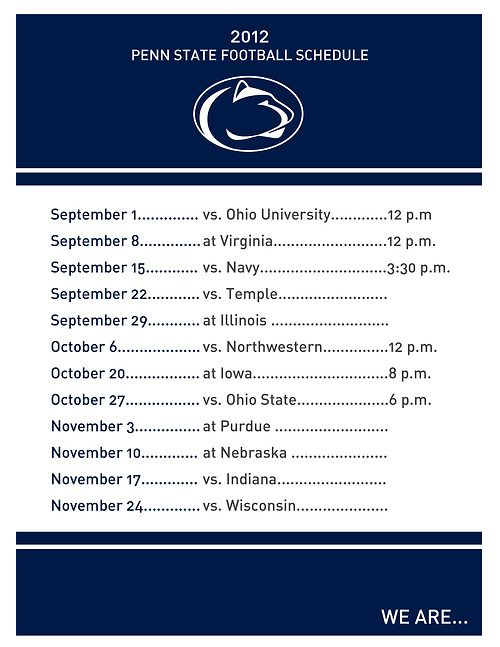 Penn State Football Schedule PDF Printout From Nickled
