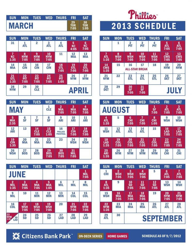 Phillies 2013 Schedule With Images Phillies Schedule