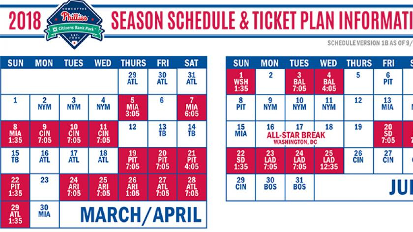 Phillies 2018 Schedule Notes Season Starts Early Heavy